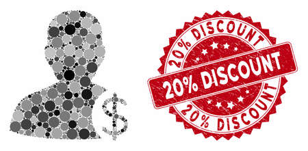Mosaic dollar account client and grunge stamp seal with 20% Discount caption. Mosaic vector is created with dollar account client icon and with random spheric items.