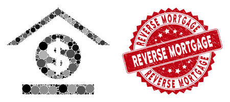 Mosaic dollar bank and distressed stamp seal with Reverse Mortgage caption. Mosaic vector is created with dollar bank icon and with scattered spheric spots. Reverse Mortgage seal uses red color, Illustration
