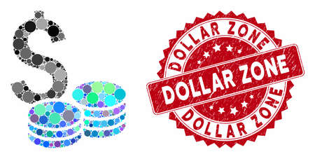 Collage dollar cash and rubber stamp seal with Dollar Zone caption. Mosaic vector is formed with dollar cash icon and with scattered round elements. Dollar Zone stamp uses red color,