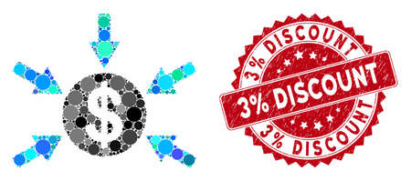 Mosaic dollar income arrows and distressed stamp seal with 3% Discount text. Mosaic vector is designed with dollar income arrows icon and with scattered round spots. 3% Discount stamp uses red color,