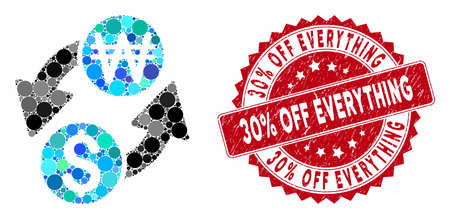 Mosaic dollar Korean Won exchange and rubber stamp watermark with 30% Off Everything text. Mosaic vector is designed with dollar Korean Won exchange icon and with randomized spheric items.