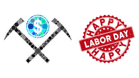 Mosaic dollar mining hammers and rubber stamp seal with Happy Labor Day caption. Mosaic vector is created with dollar mining hammers icon and with scattered spheric items.