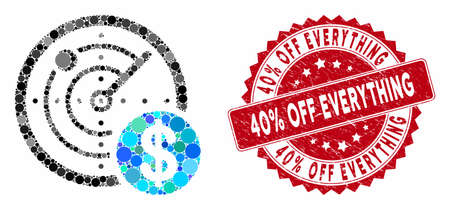 Mosaic dollar radar and corroded stamp seal with 40% Off Everything text. Mosaic vector is composed with dollar radar icon and with random round items. 40% Off Everything stamp seal uses red color,