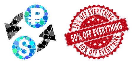 Mosaic dollar ruble exchange and corroded stamp seal with 50% Off Everything text. Mosaic vector is composed with dollar ruble exchange icon and with random round spots.