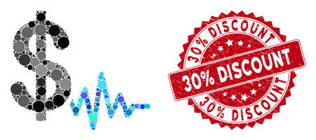 Mosaic dollar signal and grunge stamp watermark with 30% Discount text. Mosaic vector is formed with dollar signal icon and with random round elements. 30% Discount stamp uses red color,