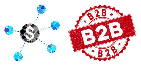 Mosaic dollar virtual links and distressed stamp seal with B2B text. Mosaic vector is formed with dollar virtual links icon and with random circle items. B2B stamp seal uses red color, 일러스트