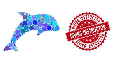 Collage dolphin and grunge stamp seal with Diving Instructor caption. Mosaic vector is designed with dolphin icon and with randomized circle spots. Diving Instructor stamp seal uses red color,