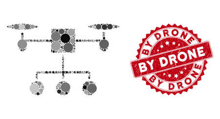 Mosaic drone distribution and corroded stamp seal with By Drone text. Mosaic vector is created with drone distribution icon and with randomized circle spots. By Drone stamp seal uses red color,