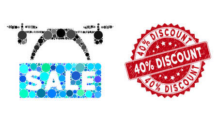 Collage drone sale banner and grunge stamp seal with 40% Discount phrase. Mosaic vector is composed with drone sale banner icon and with scattered round spots. 40% Discount stamp seal uses red color, Illusztráció