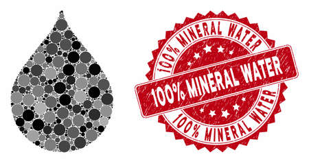 Mosaic drop and rubber stamp seal with 100% Mineral Water caption. Mosaic vector is designed with drop icon and with random spheric items. 100% Mineral Water stamp seal uses red color, 일러스트
