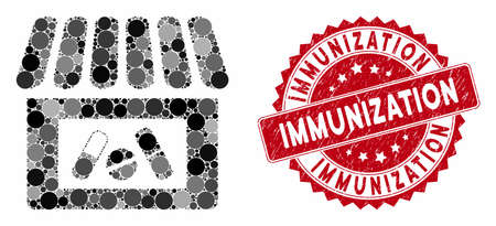 Collage drug shop and rubber stamp seal with Immunization text. Mosaic vector is composed with drug shop icon and with randomized circle spots. Immunization stamp seal uses red color,