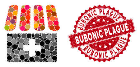 Mosaic drugstore and corroded stamp seal with Bubonic Plague caption. Mosaic vector is composed with drugstore icon and with random circle elements. Bubonic Plague stamp seal uses red color,