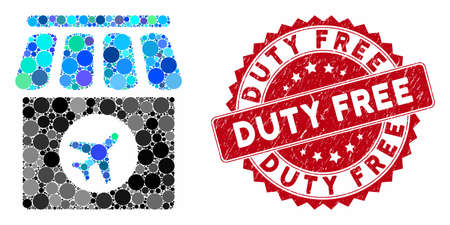 Mosaic duty free and grunge stamp seal with Duty Free caption. Mosaic vector is formed with duty free icon and with random spheric elements. Duty Free stamp uses red color, and grunge surface. Illustration