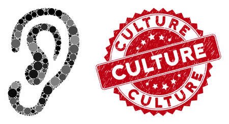 Mosaic ear and grunge stamp seal with Culture phrase. Mosaic vector is created with ear icon and with scattered circle elements. Culture stamp seal uses red color, and dirty texture.