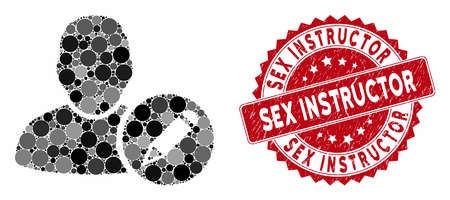 Collage edit user and grunge stamp watermark with Sex Instructor caption. Mosaic vector is composed with edit user icon and with randomized circle elements. Sex Instructor stamp uses red color, Ilustrace