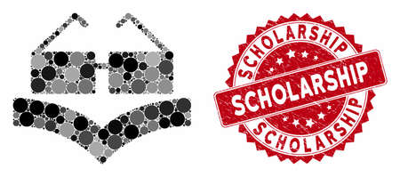 Mosaic education book and corroded stamp watermark with Scholarship caption. Mosaic vector is formed with education book icon and with scattered round spots. Scholarship stamp seal uses red color, 일러스트