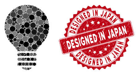 Mosaic electric bulb and corroded stamp seal with Designed in Japan text. Mosaic vector is created with electric bulb icon and with randomized spheric elements. Designed in Japan stamp uses red color, 일러스트