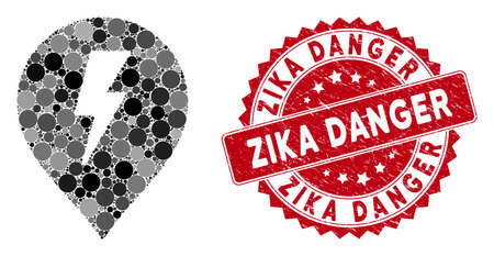 Mosaic electric shock marker and grunge stamp seal with Zika Danger text. Mosaic vector is formed with electric shock marker icon and with randomized circle items.