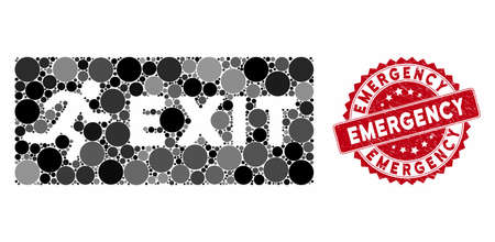 Mosaic emergency exit and rubber stamp seal with Emergency caption. Mosaic vector is composed with emergency exit icon and with randomized round spots. Emergency stamp seal uses red color, Standard-Bild - 133491221