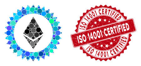 Mosaic Ethereum stamp seal and corroded stamp seal with ISO 14001 Certified text. Mosaic vector is formed with Ethereum stamp seal icon and with random spheric spots.