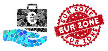 Collage Euro accounting hand and grunge stamp seal with EUR Zone phrase. Mosaic vector is created with Euro accounting hand icon and with scattered spheric items. EUR Zone stamp seal uses red color,
