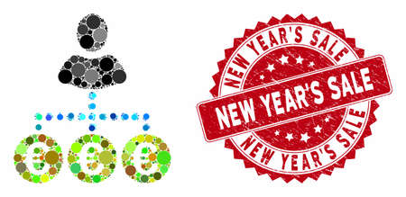 Mosaic euro mass payer and grunge stamp seal with New YearS Sale phrase. Mosaic vector is designed with euro mass payer icon and with randomized circle spots. Illusztráció