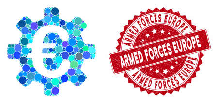 Mosaic Euro machinery gear and distressed stamp seal with Armed Forces Europe text. Mosaic vector is composed from Euro machinery gear icon and with randomized spheric spots. Banco de Imagens - 133525163