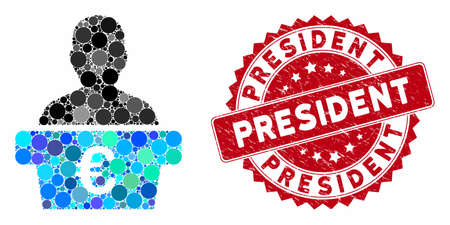 Mosaic Euro politician and grunge stamp seal with President text. Mosaic vector is formed with Euro politician icon and with scattered spheric elements. President stamp seal uses red color, Illusztráció
