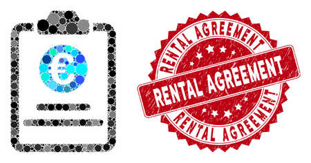 Mosaic Euro prices pad and grunge stamp seal with Rental Agreement phrase. Mosaic vector is designed from Euro prices pad icon and with randomized circle items.