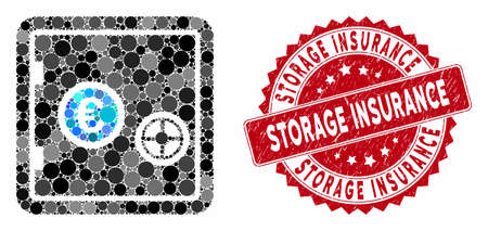 Mosaic Euro safe and distressed stamp seal with Storage Insurance text. Mosaic vector is composed with Euro safe icon and with random circle elements. Storage Insurance stamp seal uses red color,