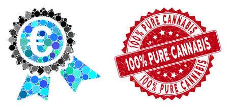 Mosaik Europäisches Garantiesiegel und korrodiertes Stempel-Wasserzeichen mit 100 % reinem Cannabis Bildunterschrift. Mosaikvektor ist mit einem europäischen Garantiesiegelsymbol und mit verstreuten runden Elementen gestaltet.