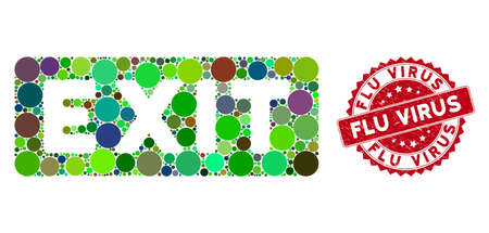 Mosaic exit label and distressed stamp seal with Flu Virus phrase. Mosaic vector is composed with exit label icon and with randomized round elements. Flu Virus stamp seal uses red color,