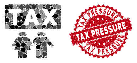 Collage family tax pressure and rubber stamp seal with Tax Pressure caption. Mosaic vector is formed with family tax pressure icon and with random spheric elements.