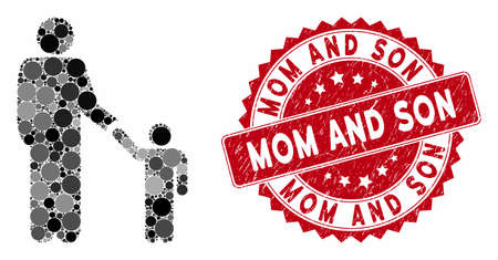 Mosaic father child and grunge stamp seal with Mom and Son caption. Mosaic vector is designed with father child icon and with randomized circle elements. Mom and Son stamp uses red color, Illusztráció