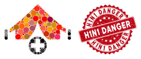Collage field hospital and rubber stamp seal with H1N1 Danger caption. Mosaic vector is formed from field hospital icon and with randomized circle items. H1N1 Danger stamp seal uses red color, Ilustração