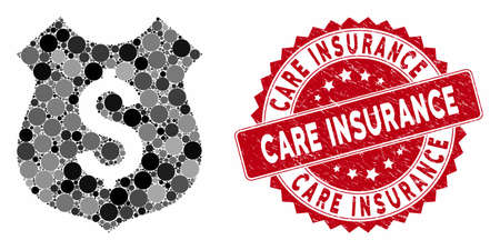 Mosaic financial shield and corroded stamp seal with Care Insurance text. Mosaic vector is composed with financial shield icon and with scattered spheric spots. Vecteurs