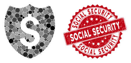 Collage financial shield and corroded stamp seal with Social Security text. Mosaic vector is formed with financial shield icon and with scattered spheric elements.
