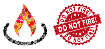 Mosaic fire place and rubber stamp seal with Do Not Fire! text. Mosaic vector is formed with fire place icon and with randomized round items. Do Not Fire! stamp seal uses red color, Ilustração