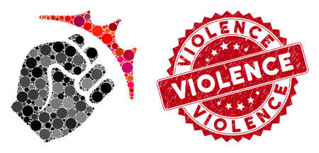 Mosaic fist strike and grunge stamp watermark with Violence text. Mosaic vector is formed with fist strike icon and with scattered round spots. Violence stamp seal uses red color,  イラスト・ベクター素材