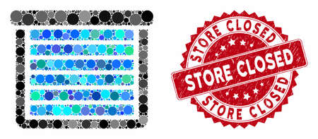 Mosaic garage closed and grunge stamp seal with Store Closed phrase. Mosaic vector is composed with garage closed icon and with random spheric spots. Store Closed stamp seal uses red color, Illusztráció