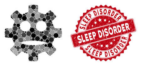 Mosaic gear sad smiley and corroded stamp seal with Sleep Disorder text. Mosaic vector is composed with gear sad smiley icon and with random circle spots. Sleep Disorder stamp seal uses red color,