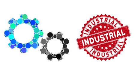 Collage gears and grunge stamp seal with Industrial text. Mosaic vector is formed with gears icon and with random round items. Industrial stamp seal uses red color, and dirty design. Banco de Imagens - 133519912
