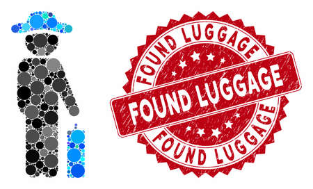 Mosaic gentleman baggage and corroded stamp seal with Found Luggage text. Mosaic vector is composed with gentleman baggage icon and with randomized spheric items. Found Luggage stamp uses red color,