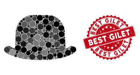 Mosaic gentleman hat and rubber stamp seal with Best Gilet text. Mosaic vector is formed from gentleman hat icon and with random circle elements. Best Gilet stamp seal uses red color,