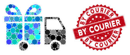 Mosaic gift delivery van and distressed stamp seal with By Courier caption. Mosaic vector is formed with gift delivery van icon and with scattered round spots. By Courier stamp uses red color,