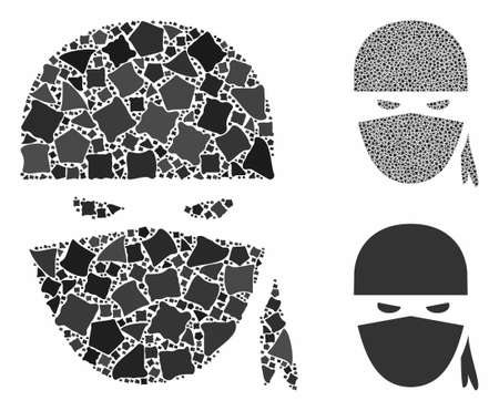 Ninja head mosaic of trembly items in variable sizes and shades, based on ninja head icon. Vector rugged items are united into mosaic. Ninja head icons collage with dotted pattern.
