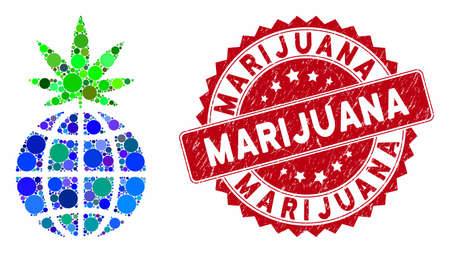 Collage global cannabis sprout and grunge stamp seal with Marijuana caption. Mosaic vector is designed with global cannabis sprout icon and with random round items. Marijuana seal uses red color, 向量圖像