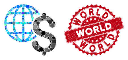 Mosaic global economics and distressed stamp watermark with World caption. Mosaic vector is created with global economics icon and with randomized spheric spots. World stamp uses red color, 向量圖像