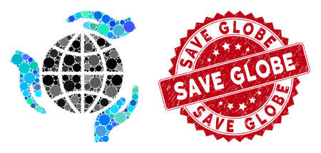 Mosaic global protection and grunge stamp seal with Save Globe phrase. Mosaic vector is created with global protection icon and with randomized circle spots. Save Globe stamp seal uses red color,