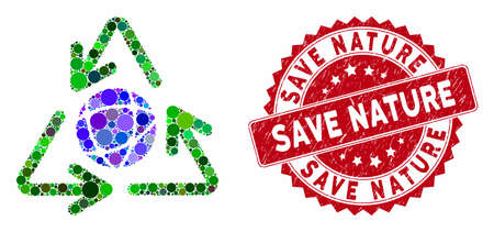 Mosaic global recycling and grunge stamp seal with Save Nature phrase. Mosaic vector is composed from global recycling icon and with scattered circle elements. Save Nature stamp uses red color,